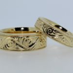 Set of Yellow Hand Engraved Scroll Wedding Bands - Dyke Vandenburgh Jewelers