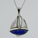 White Gold Diamond Sailboat with Lapis and Mother of Pearl - Dyke Vandenburgh Jewelers